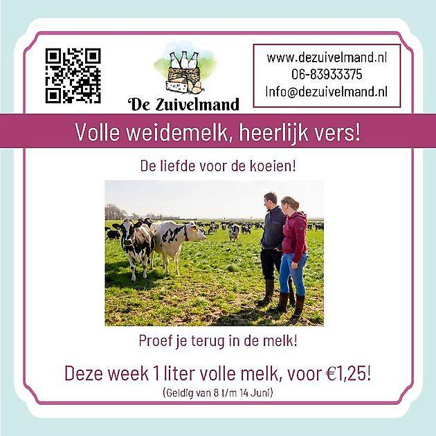 Aanbieding: Volle melk voor €1,25 - De Zuivelmand Blijham