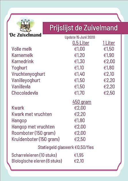 nieuwe prijslijst - De Zuivelmand Blijham